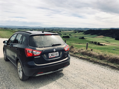 """Suzuki versatility! Perfectly at home in the city, on the highway and on a typical New Zealand back country road."" Keith assures us he washed his new S-Cross after this rural photoshoot :-)"